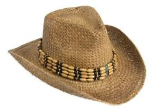 Vintage Style Unisex Cowboy Hat - Natura Straw With Beaded Trim & Shapeable Brim