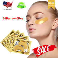 20pairs 24K Gold Under Eye Mask Anti-Aging Hyaluronic Acid Bio Collagen Eye Pads
