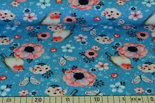 b672d17947f73 Rotkehlchen Blumen Baumwoll Jersey türkis Stoff (J316)