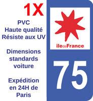 Sticker immatriculation autocollant plaque Département 75 Paris Ile de France HQ