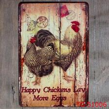 Happy Chicken Lay More Eggs Vintage Tin Signs Metal Plate Decor Art Wall Poster