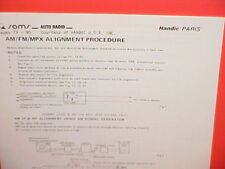 1978 HANDIC CAR AUTO STEREO AM-FM MPX RADIO SERVICE SHOP MANUAL MODEL PARIS