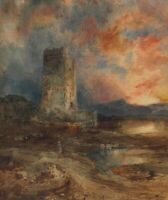 Sunset On The Moor Thomas Moran Fine Art Repro Print on Canvas Giclee Poster SM