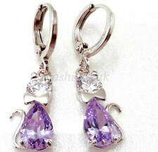 fashion1uk Dangle Earrings White Gold Plated Lilac Simulated Diamond
