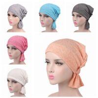 Cotton Elastic Hijab Turban Hat Cancer Chemo Hair Loss Beanie Cap Head Scarf UK
