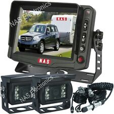 "5"" Monitor Dual Wide Angle Reversing Cameras Rear View Kit Rear Vision System"