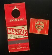1930s? Feature Knothole Caltex Gasoline Marfak Lubrication Gas & Oil Matchbook