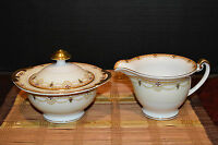 Meito China Creamer & Sugar w/lid Gold Trim Floral Hand Painted