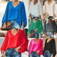 Women Puff Long Sleeve Blouse Loose Fit Top Casual V Neck Basic Shirt Plus Size