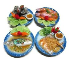 Set of 4 Seafood on Plates Dollhouse Miniatures Food Supply Deco Barbie Set 4