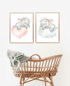 Sleeping Elephant Nursery Wall Art - Pink & Grey Nursery Decor - Baby Girls Room