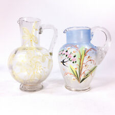 Set of 2 Antique Unique Victorian Yellow Blue Floral Handpainted Glass Pitchers