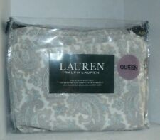 Ralph Lauren Queen Sheet Set White Beige Blue Paisley 100% Cotton No Fitted New