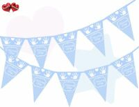 Naming Day White Polka Dots Hands and Heart on Blue Bunting Banner 15 flags 12ft