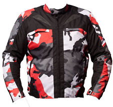 BLACK ASH MENS CAMO MOTORCYCLE CORDURA TEXTILE ARMOR JACKET RED XL