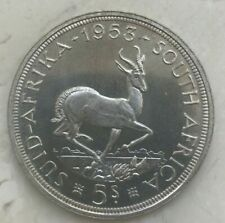 1953 South Africa 5 Shillings - Big Silver PL Prooflike Surfaces