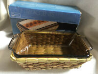 """ANCHOR HOCKING Glass Pyrex Loaf Dish & Wicker Basket Boxed  5 X 9"""" NEW"""