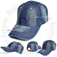 Cotton Denim Baseball Ball Cap Plain Solid Curved Bill Strap Back Adjustable Hat
