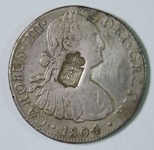 1804 Mo Mexico 8 Reales Silver Coin w/ Portugal 870 Reis Counterstamp C/S