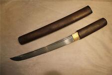 Japanese Hand Forged Folded Steel Buraun Mokuzai Tanto Samurai Sword Shirasaya