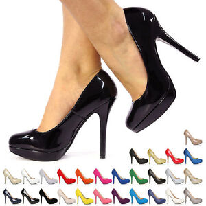 NEW LADIES WOMENS STILETTO HIGH HEEL PLATFORM PARTY COURT SHOES SIZE 3-8