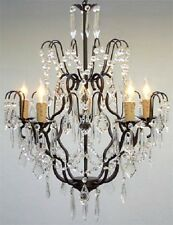 "Swarovski Crystal Trimmed Wrought Iron Chandelier Chandeliers Lighting H27""xW21"""