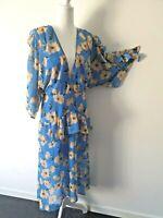 Talulah Blue Floral Boho Flutter Sleeve Midi Dress Size XL