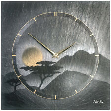 AMS 47 Wall Clock Natural Slate Kitchen Office Silver Gold schieferuhr 542