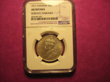 Rare 1911 Canada 50c  AU