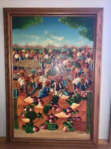E. Valcin signed oil painting - Haitian colorful market scene