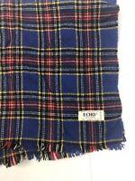 NOS Vintage Echo Scarf 100% Wool  Square Blue Plaid England NWT 51 Inches Long