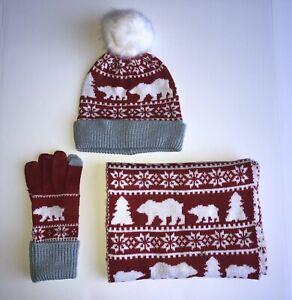 Vera Bradley Beary Merry Red Knit Scarf Tech Gloves & Pom Pom Beanie Hat - NWT