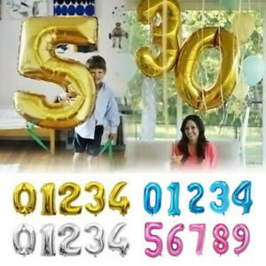 """40"""" Giant Number Foil Balloons Letter Air Helium Wedding Birthday Age Party Hot"""