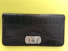 AUBURN TIGERS LEATHER WALLET / CHECKBOOK COVER, BLACK CROC LOOK NIB