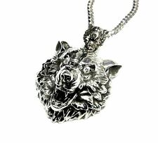 Custom Wolf Pendant With Diamonds by Sacred Angels