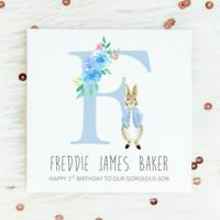 Personalised 1st Birthday Card Peter Rabbit first 2nd 3rd son grandson nephew