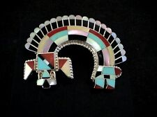 Auth.Native American Indian Large Sterling/ Rainbow God Pin/Pendant/Bowannie