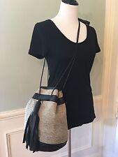 Wendy Nichol x Vanderhurd Leather & Silk Dhurrie Bucket Bullet Bag, Lmtd Edition