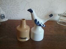 Royal Worcester Blue & White Pie Funnel Bird vent + Nutbrown