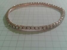 "PINK ROSE GOLD PLATED ""3MMX3MM DIMNANTIS EXPANDERBLE ""BRACELET PINK  CLEAR"