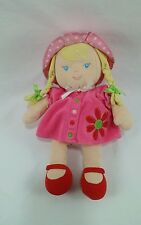 Carters Blond Doll Plush Pink Dress Hat Flower Daisy Braids Red Shoes 10""