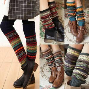Womens Leg Warmers Leggings Crochet Winter Boho Knee High Knit Boot Warmer Socks