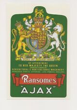 Ransomes Ajax Mark 4 & 5 Vintage Mower Er Ii Coat of Arms Repro Decal