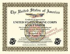 USMC Scout Sniper Certificate - CUSTOM W/ YOUR NAME & DATE Military USA Diploma