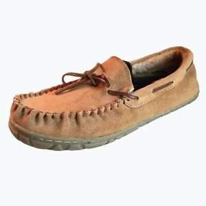 Mens Fur Lined Slippers Moccasins Size 11 Brown Suede Warm Comfort Shoe