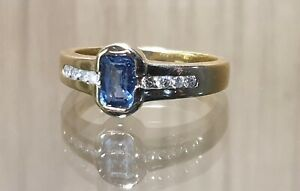 18ct Yellow Gold Sapphire And Diamond Ring Size M1/2