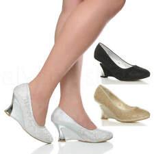 Mujer Damas Tacón Alto Medio Cuña Diamante Fiesta Noche Tribunal Zapatos Talla