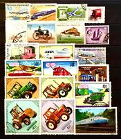 TRANSPORT TRACTOR CAR BUS PLANE TOPIC THEMATIC STAMP COLLECTION MIXTURE 08200520