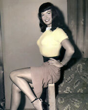 "BETTIE PAGE FETISH MODEL QUEEN OF THE PINUPS 8x10"" HAND COLOR TINTED PHOTOGRAPH"