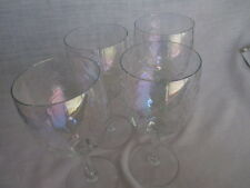 4 - PC. IREDESCENT CLEAR BEVERAGE GLASSES WINE - TEA / WATER * vintage